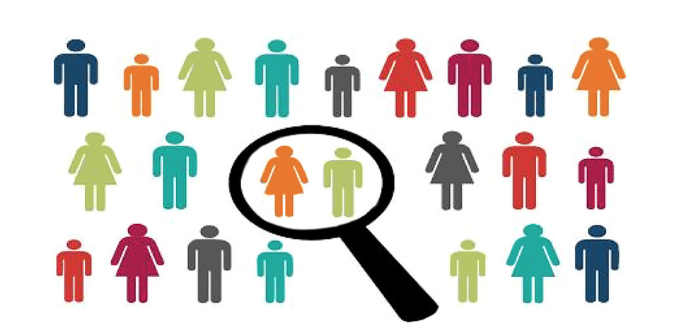 multi-color images of men and women and a magnifying glass